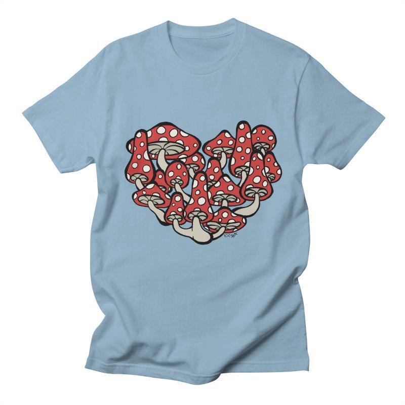 Heart Made of Mushrooms Men's T-shirt by brettgilbert's Artist Shop