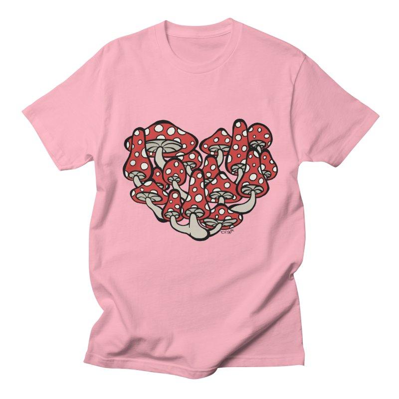 Heart Made of Mushrooms Men's Regular T-Shirt by brettgilbert's Artist Shop