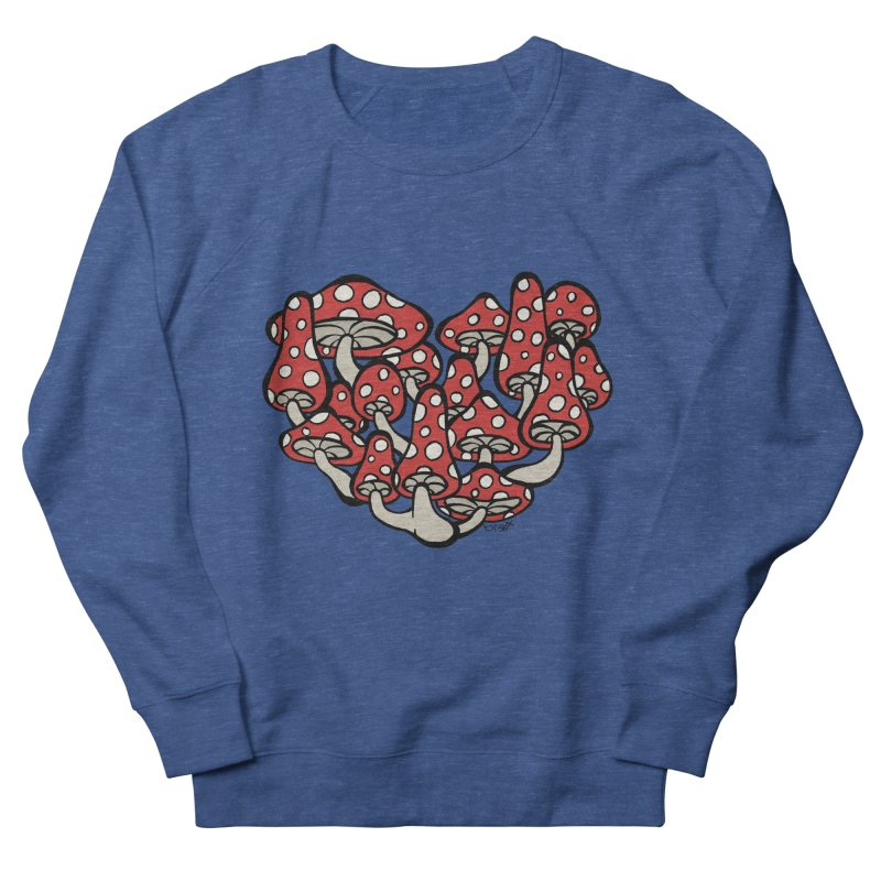Heart Made of Mushrooms Women's French Terry Sweatshirt by brettgilbert's Artist Shop