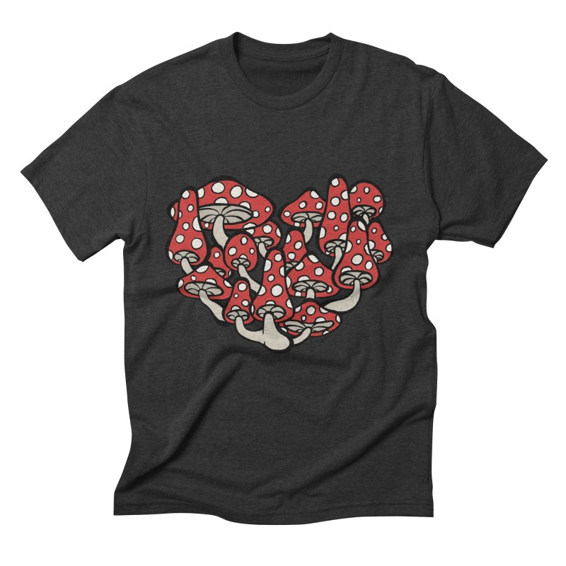 Heart Made of Mushrooms Men's Triblend T-Shirt by brettgilbert's Artist Shop