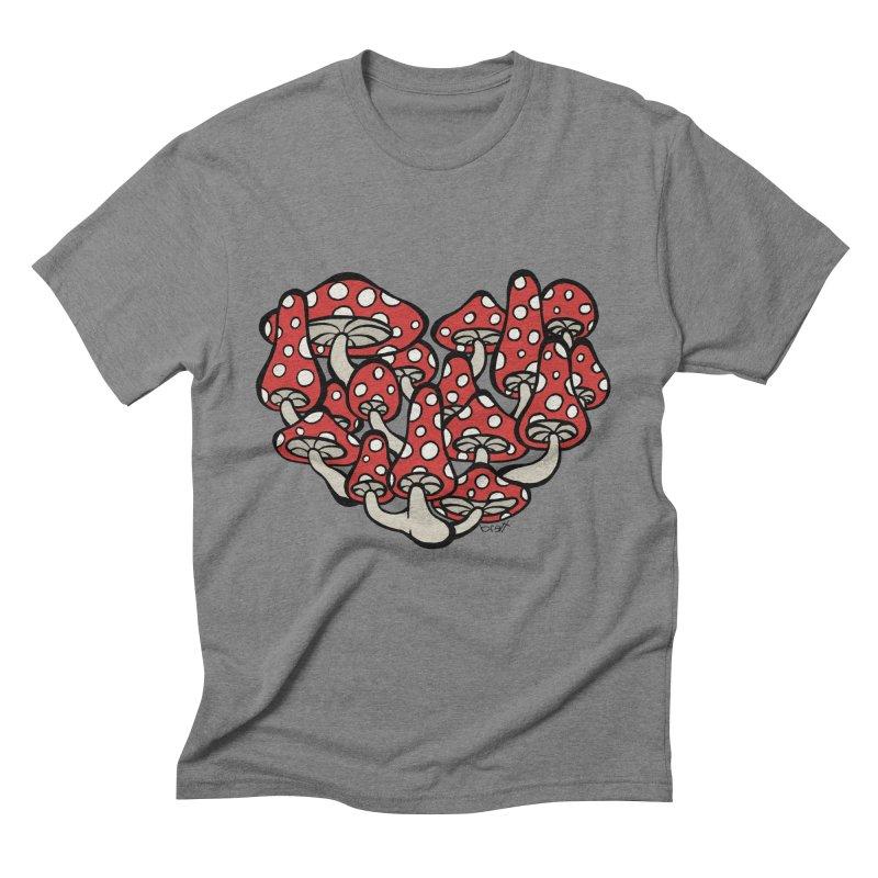 Heart Made of Mushrooms Men's Triblend T-Shirt by brettgilbert's Artist Shop