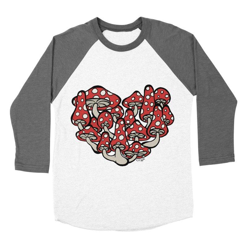 Heart Made of Mushrooms Women's Baseball Triblend Longsleeve T-Shirt by brettgilbert's Artist Shop
