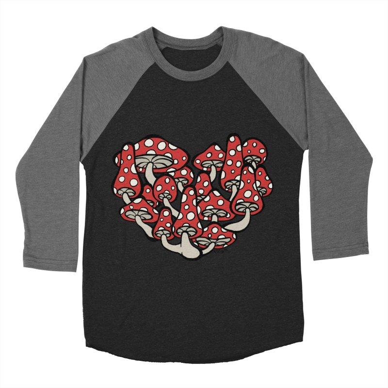 Heart Made of Mushrooms Women's Baseball Triblend T-Shirt by brettgilbert's Artist Shop