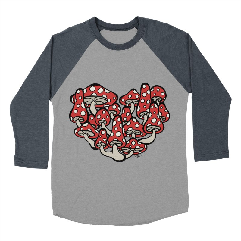 Heart Made of Mushrooms Women's Baseball Triblend T-Shirt by brettgilbert's Artist Shop