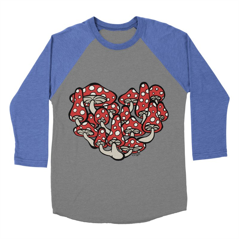 Heart Made of Mushrooms Men's Baseball Triblend Longsleeve T-Shirt by brettgilbert's Artist Shop