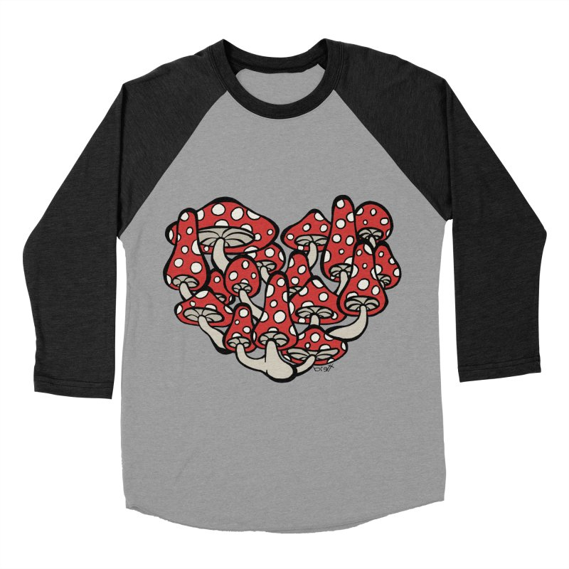 Heart Made of Mushrooms Men's Baseball Triblend T-Shirt by brettgilbert's Artist Shop