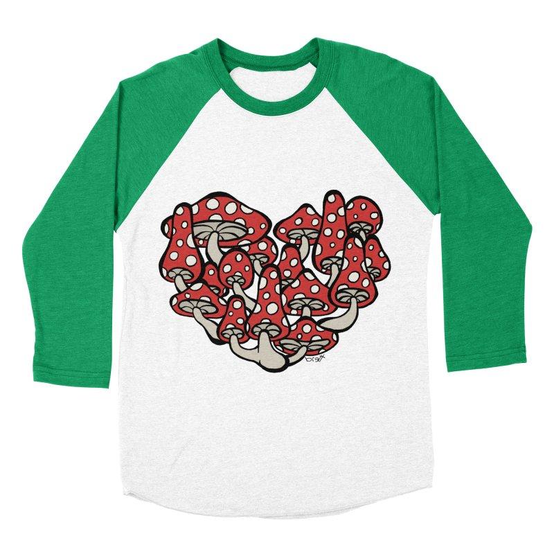 Heart Made of Mushrooms Men's Baseball Triblend T-Shirt by brettgilbert's Artist Shop