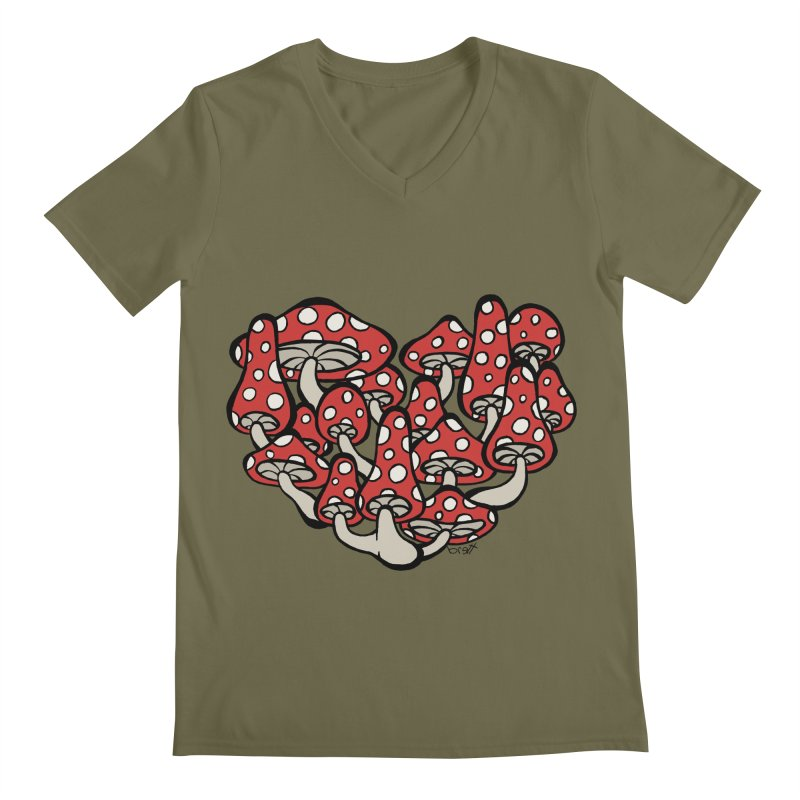 Heart Made of Mushrooms Men's V-Neck by brettgilbert's Artist Shop