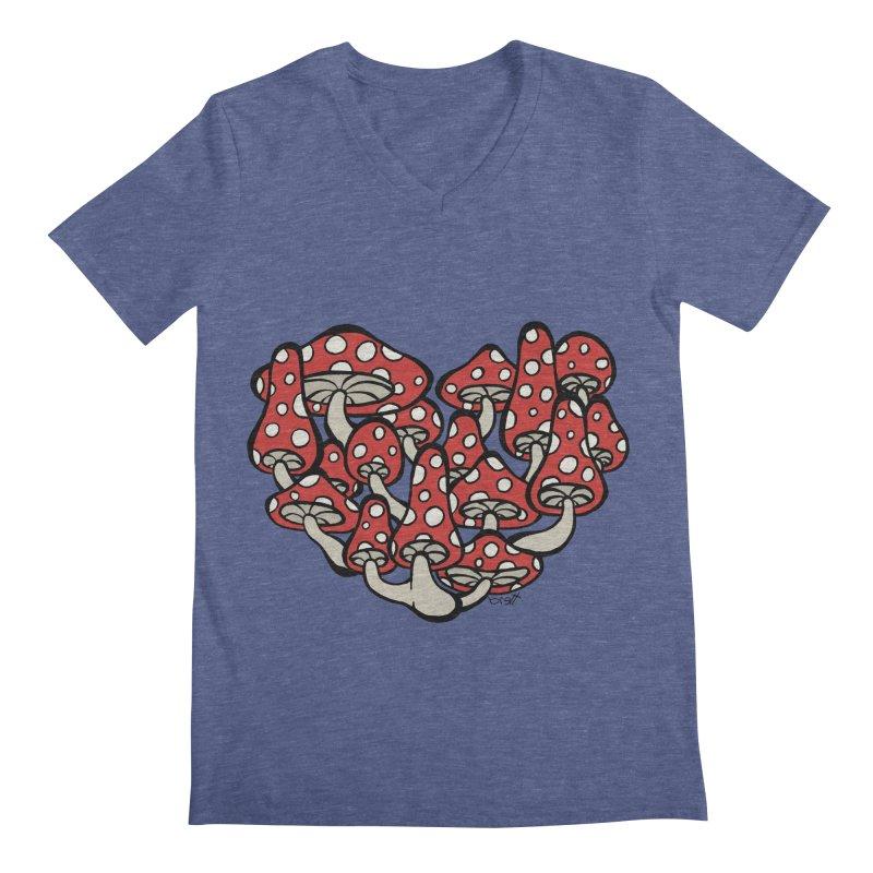 Heart Made of Mushrooms Men's V-Neck by brettgilbert's Artist Shop
