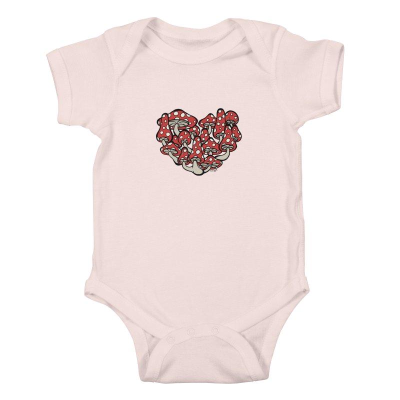 Heart Made of Mushrooms Kids Baby Bodysuit by brettgilbert's Artist Shop