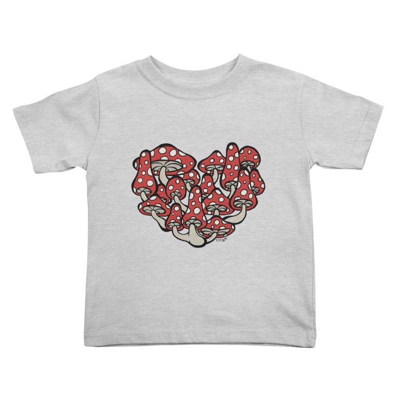 Heart Made of Mushrooms Kids Toddler T-Shirt by brettgilbert's Artist Shop