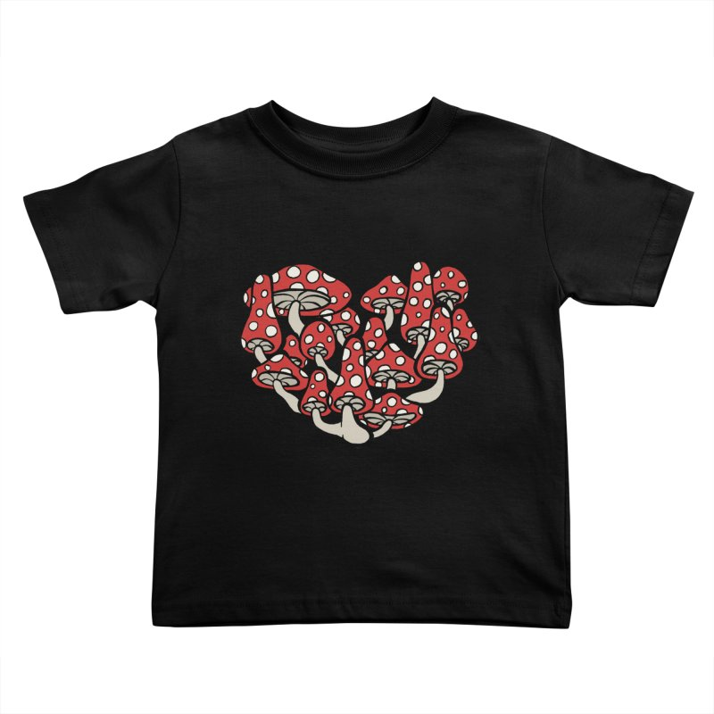 Heart Made of Mushrooms Kids Toddler T-Shirt by brettgilbert's Artist Shop