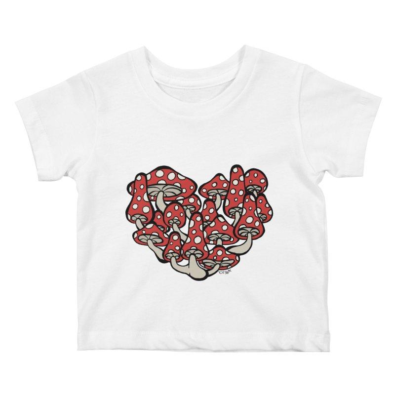 Heart Made of Mushrooms Kids Baby T-Shirt by brettgilbert's Artist Shop