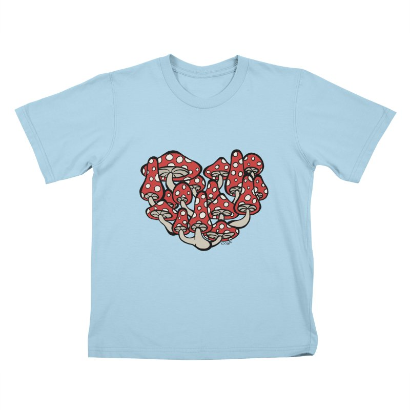 Heart Made of Mushrooms Kids T-Shirt by brettgilbert's Artist Shop