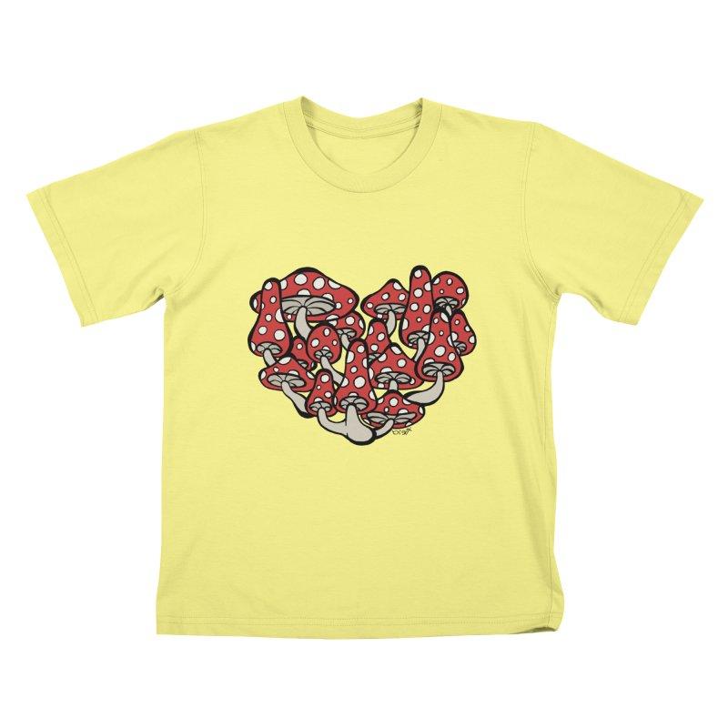 Heart Made of Mushrooms Kids T-shirt by brettgilbert's Artist Shop