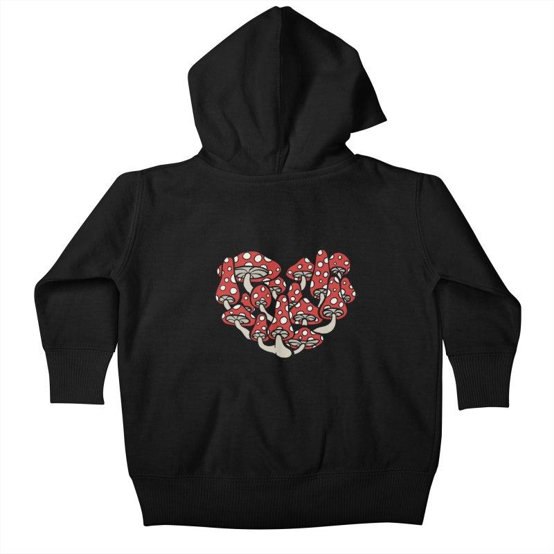 Heart Made of Mushrooms Kids Baby Zip-Up Hoody by brettgilbert's Artist Shop
