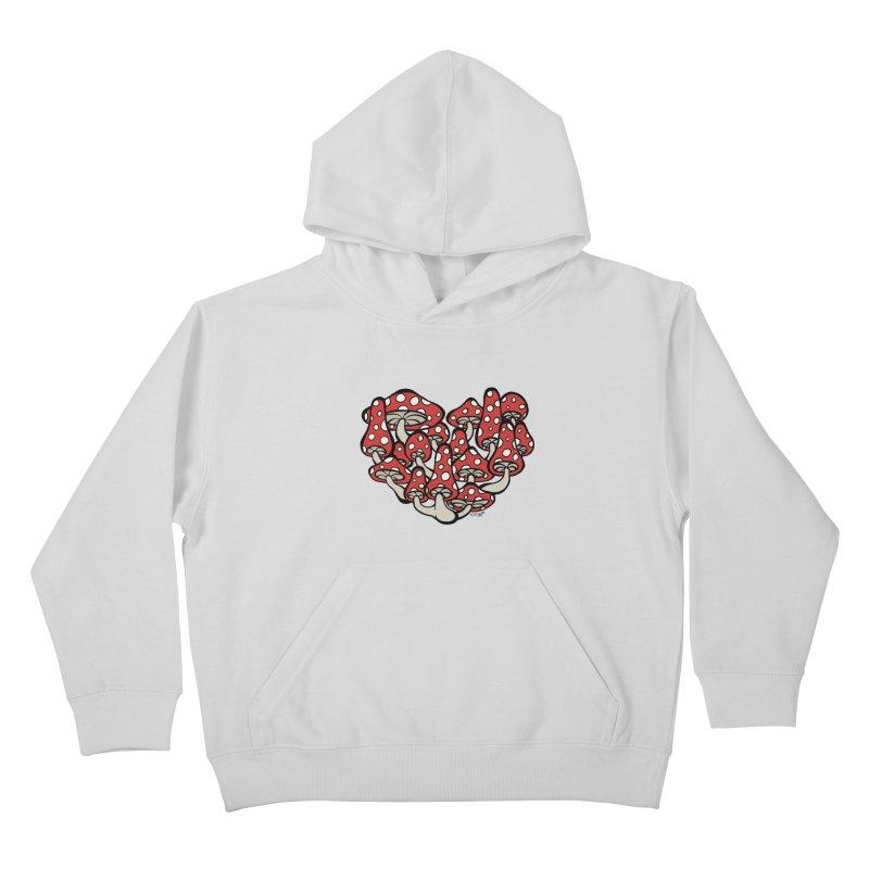 Heart Made of Mushrooms Kids Pullover Hoody by brettgilbert's Artist Shop