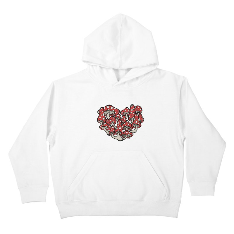 Heart Made of Mushrooms Kids Pullover Hoody by brettgilbert's Artist Shop