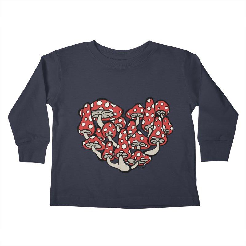 Heart Made of Mushrooms Kids Toddler Longsleeve T-Shirt by brettgilbert's Artist Shop