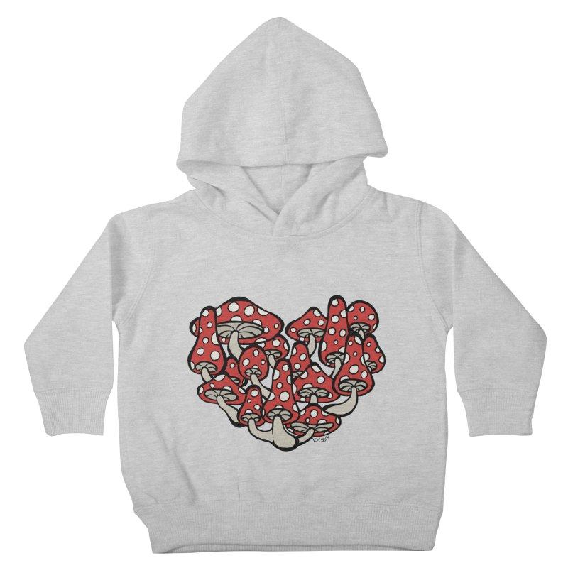 Heart Made of Mushrooms Kids Toddler Pullover Hoody by brettgilbert's Artist Shop