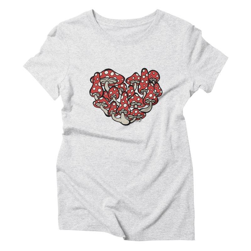 Heart Made of Mushrooms Women's T-Shirt by brettgilbert's Artist Shop