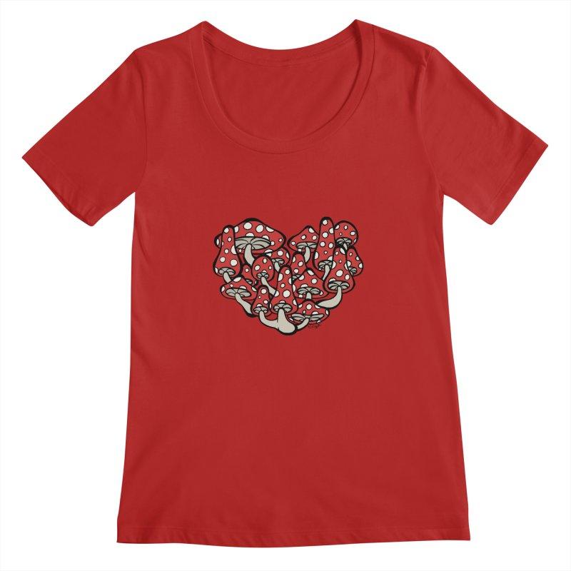 Heart Made of Mushrooms Women's Scoopneck by brettgilbert's Artist Shop
