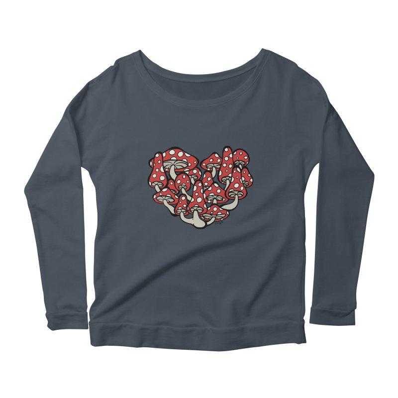 Heart Made of Mushrooms Women's Longsleeve Scoopneck  by brettgilbert's Artist Shop
