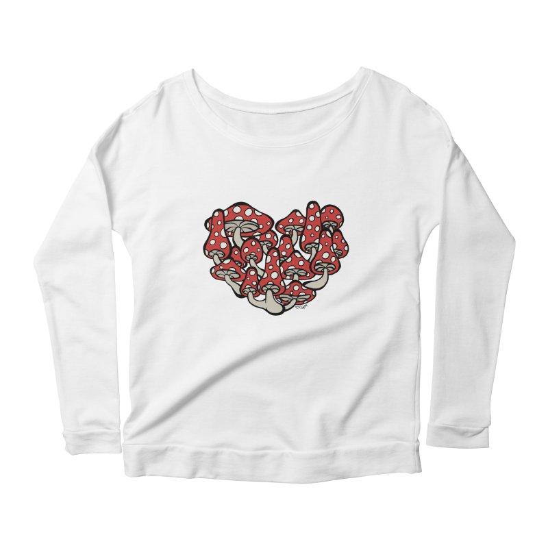 Heart Made of Mushrooms Women's Scoop Neck Longsleeve T-Shirt by brettgilbert's Artist Shop