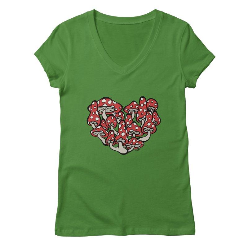 Heart Made of Mushrooms Women's Regular V-Neck by brettgilbert's Artist Shop