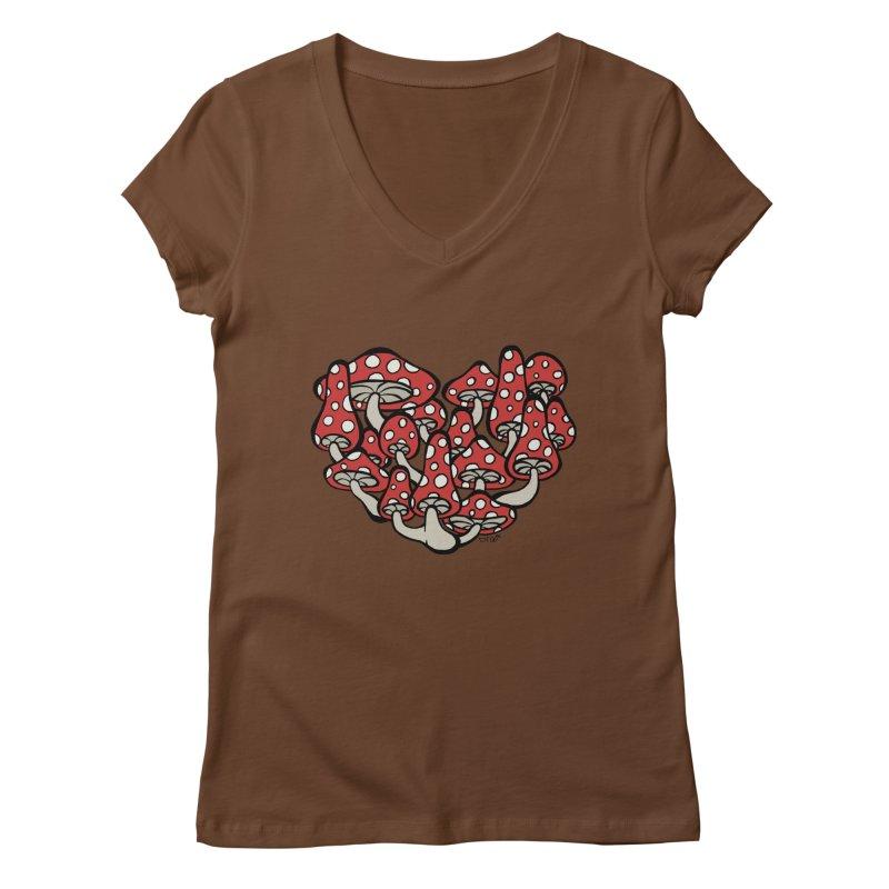Heart Made of Mushrooms Women's V-Neck by brettgilbert's Artist Shop