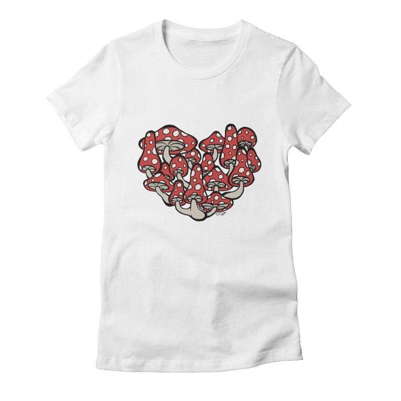 Heart Made of Mushrooms Women's Fitted T-Shirt by brettgilbert's Artist Shop
