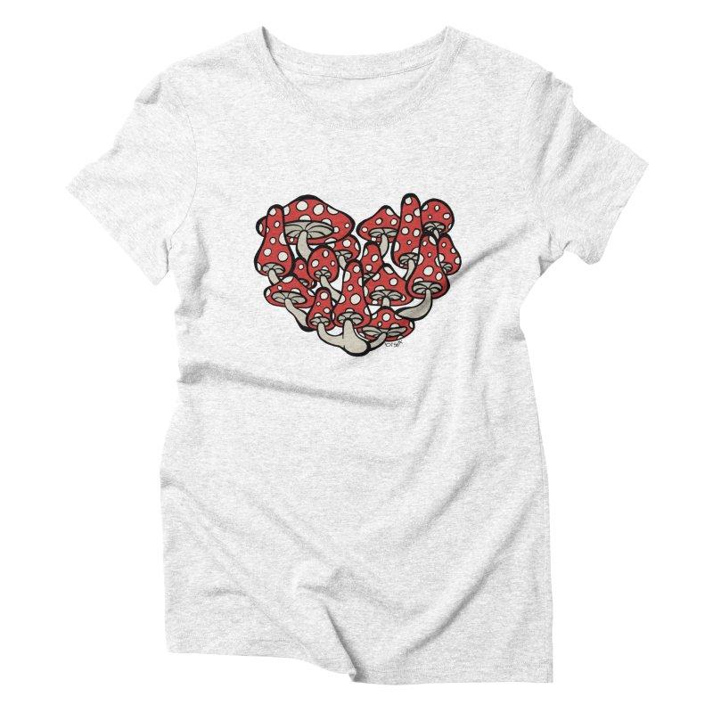 Heart Made of Mushrooms Women's Triblend T-shirt by brettgilbert's Artist Shop