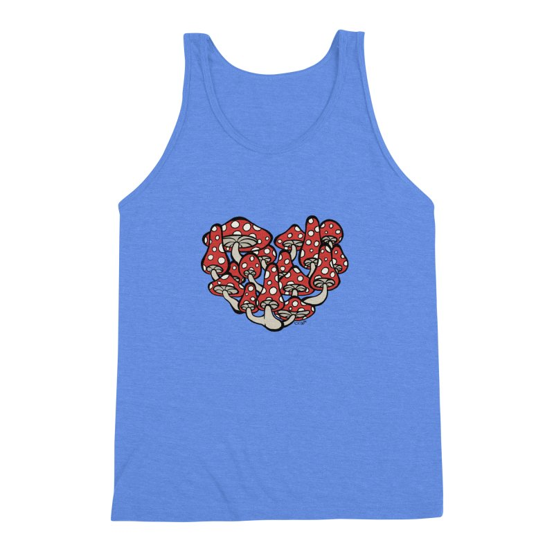 Heart Made of Mushrooms Men's Triblend Tank by brettgilbert's Artist Shop