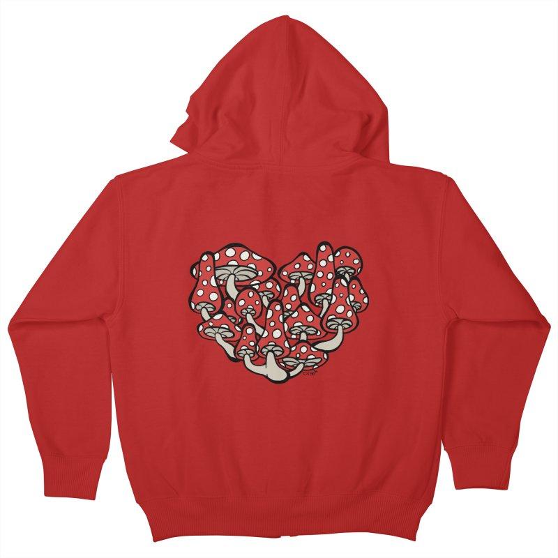 Heart Made of Mushrooms Kids Zip-Up Hoody by brettgilbert's Artist Shop