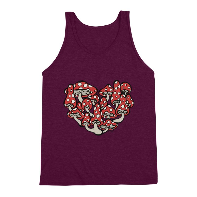 Heart Made of Mushrooms Men's Triblend Tank by brettgilbert's Artist Shop