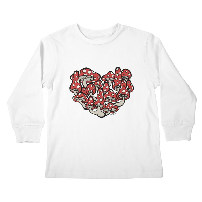 Heart Made of Mushrooms Kids Longsleeve T-Shirt by brettgilbert's Artist Shop