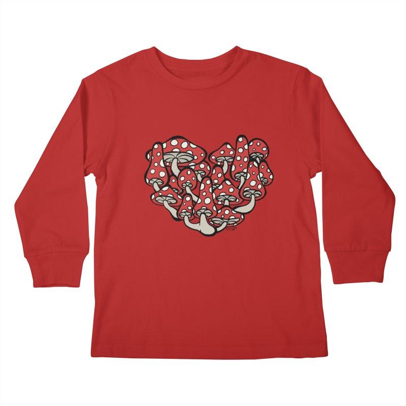Heart Made of Mushrooms Kids Longsleeve T-Shirt by brettgilbert's Artist Shop