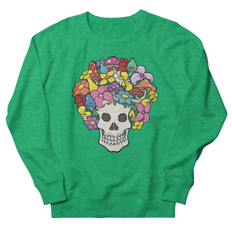 Skull with Afro made of Flowers and Mushrooms Men's Sweatshirt by brettgilbert's Artist Shop