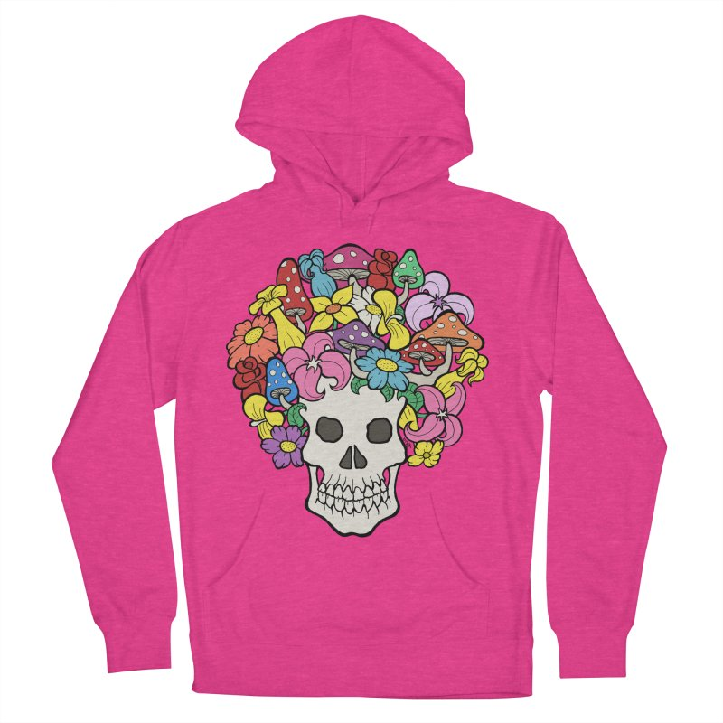 Skull with Afro made of Flowers and Mushrooms Women's French Terry Pullover Hoody by brettgilbert's Artist Shop