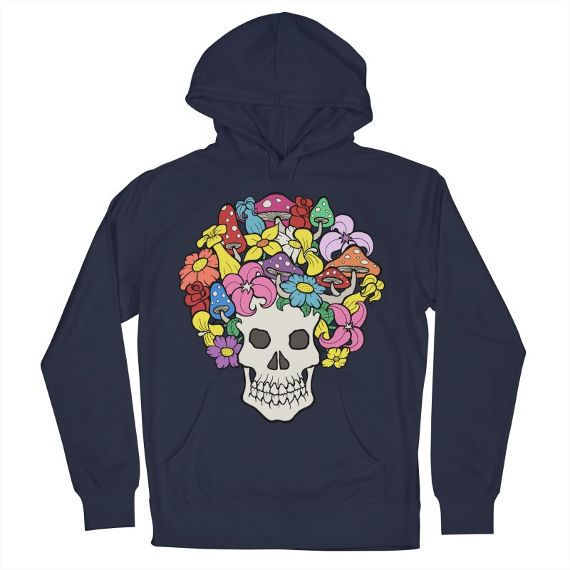 Skull with Afro made of Flowers and Mushrooms Women's Pullover Hoody by brettgilbert's Artist Shop
