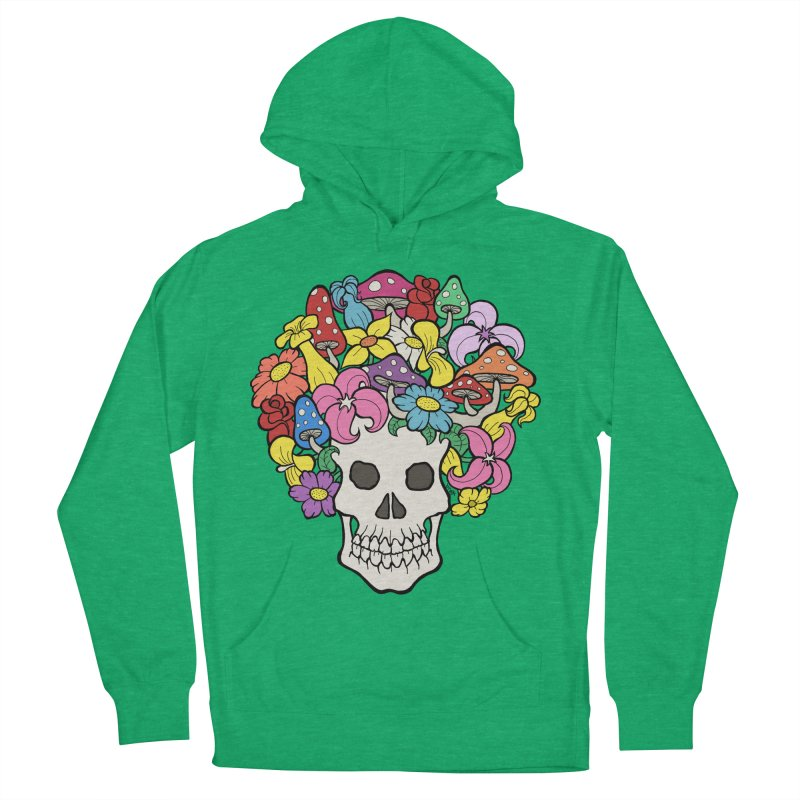 Skull with Afro made of Flowers and Mushrooms Men's French Terry Pullover Hoody by brettgilbert's Artist Shop