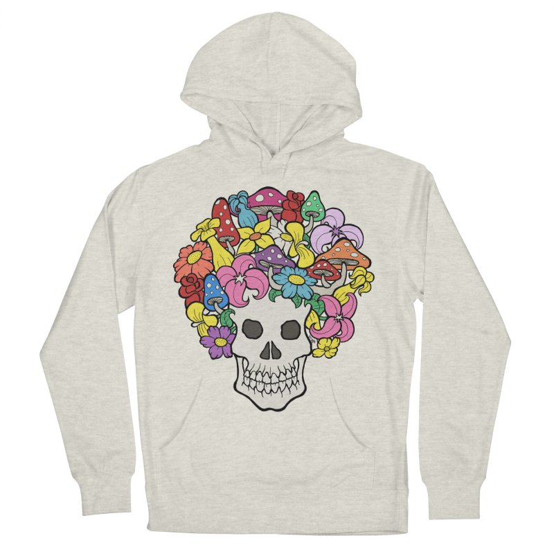 Skull with Afro made of Flowers and Mushrooms Men's Pullover Hoody by brettgilbert's Artist Shop