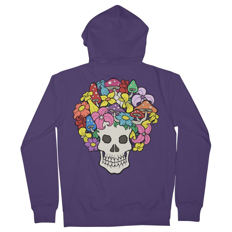Skull with Afro made of Flowers and Mushrooms Women's French Terry Zip-Up Hoody by brettgilbert's Artist Shop
