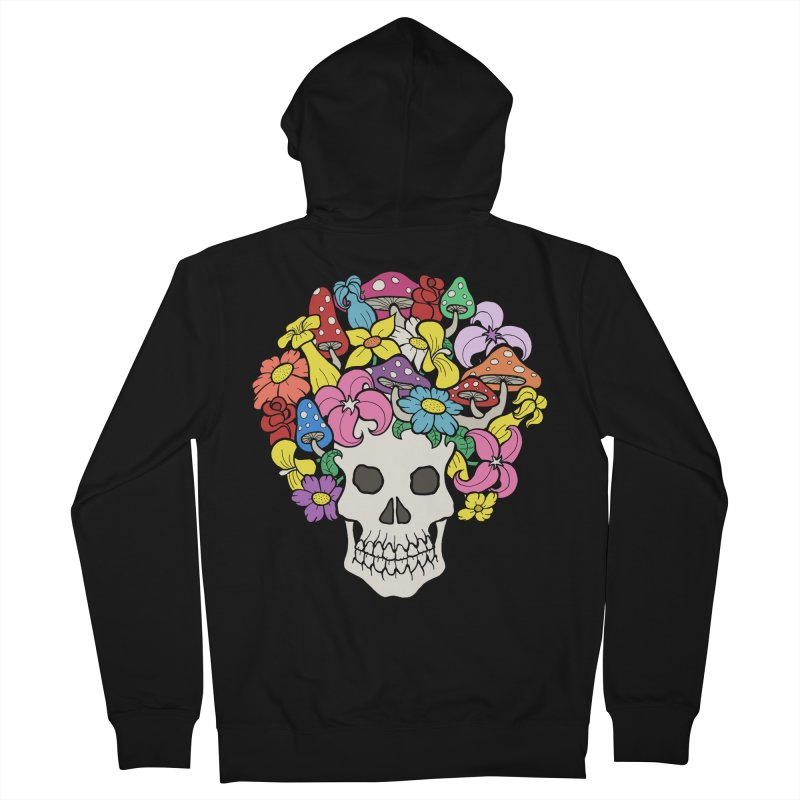 Skull with Afro made of Flowers and Mushrooms Women's Zip-Up Hoody by brettgilbert's Artist Shop