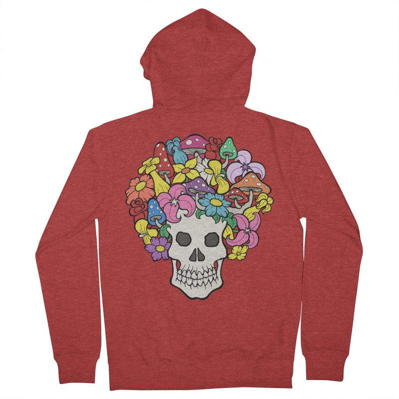 Skull with Afro made of Flowers and Mushrooms Men's Zip-Up Hoody by brettgilbert's Artist Shop