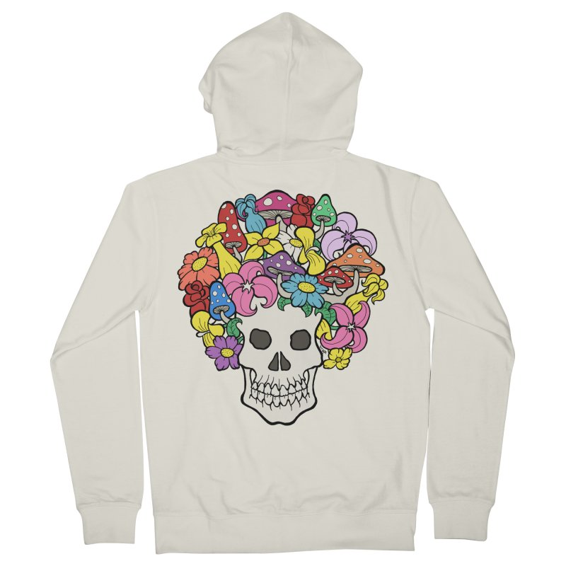 Skull with Afro made of Flowers and Mushrooms Men's French Terry Zip-Up Hoody by brettgilbert's Artist Shop