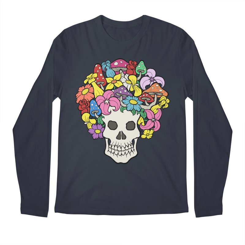 Skull with Afro made of Flowers and Mushrooms Men's Longsleeve T-Shirt by brettgilbert's Artist Shop