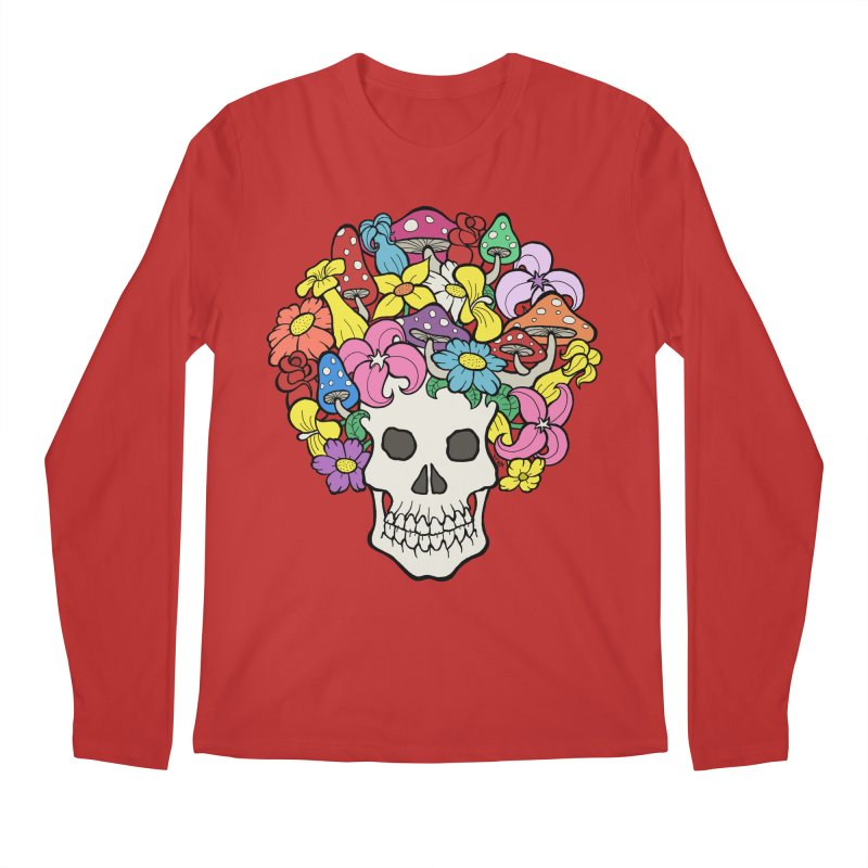 Skull with Afro made of Flowers and Mushrooms Men's Regular Longsleeve T-Shirt by brettgilbert's Artist Shop