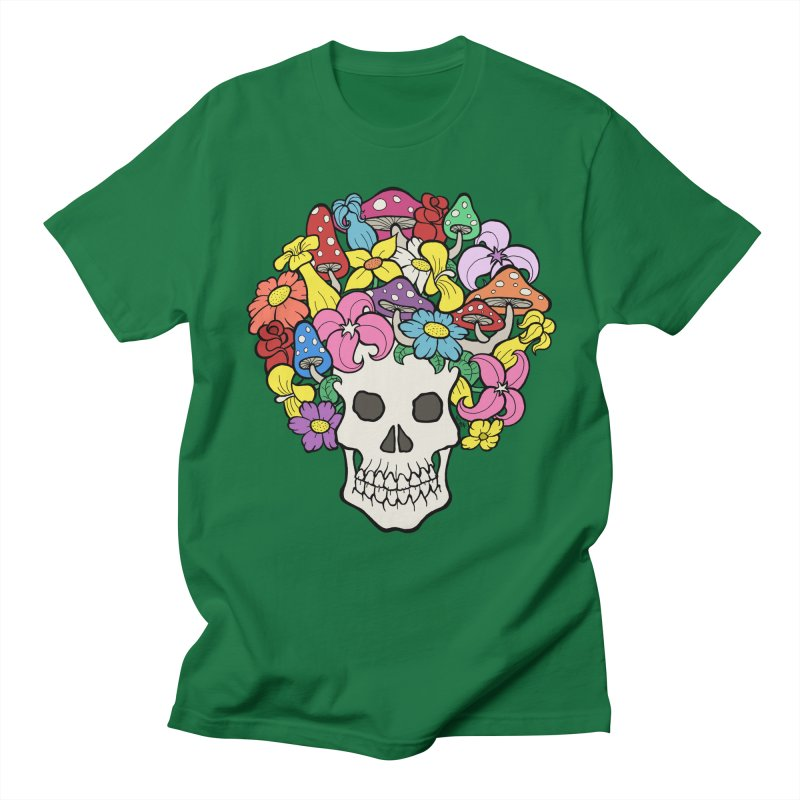Skull with Afro made of Flowers and Mushrooms Men's Regular T-Shirt by brettgilbert's Artist Shop