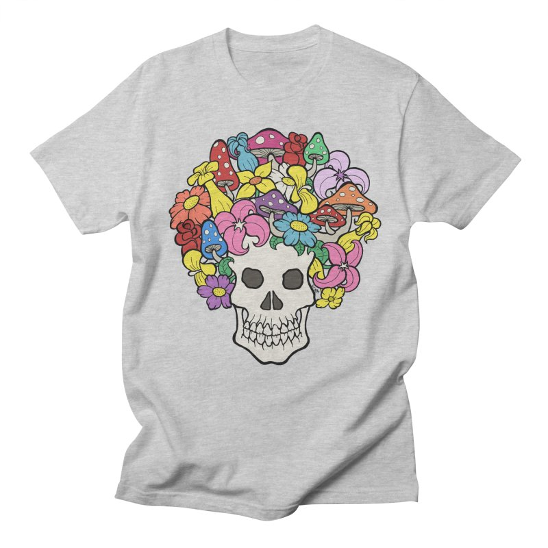 Skull with Afro made of Flowers and Mushrooms Men's T-Shirt by brettgilbert's Artist Shop